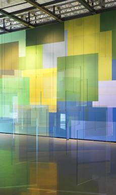 """Painting Air,'' the title work of Spencer Finch's exhibit, is an installation of hanging panes of glass rotating in the air currents, the panes either reflecting light or letting it through."